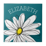 Yellow and White Whimsical Daisy with Custom Text Tile