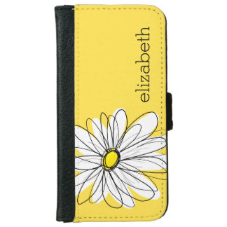 Yellow and White Whimsical Daisy with Custom Text Wallet Phone Case For iPhone 6/6s