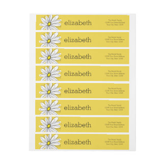 Yellow and White Whimsical Daisy with Custom Text Wraparound Return Address Label