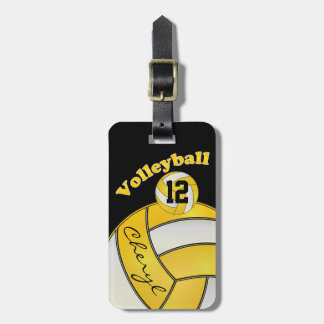 Yellow and White with Black Sporty Volleyball Bag Tag