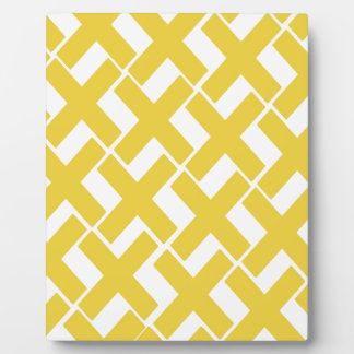 Yellow and White Xs Plaque