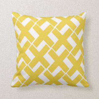 Yellow and White Xs Throw Pillow