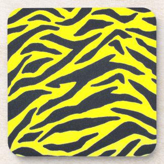 Yellow and White Zebra Stripes Print Coaster