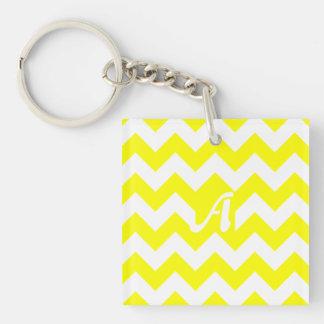 Yellow and White Zigzag Monogram Square Acrylic Key Chain