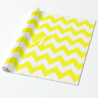 Yellow and White Zigzag Monogram Wrapping Paper