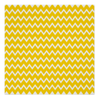 Yellow and White Zigzag Pattern Poster