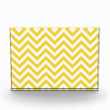 Beach Themed Yellow and White Zigzag Stripes Chevron Pattern Acrylic Award