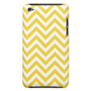 Beach Themed Yellow and White Zigzag Stripes Chevron Pattern Barely There iPod Case