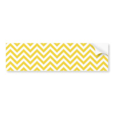 Beach Themed Yellow and White Zigzag Stripes Chevron Pattern Bumper Sticker