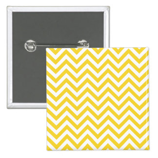 Yellow and White Zigzag Stripes Chevron Pattern Button