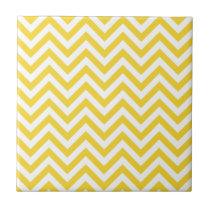 Yellow and White Zigzag Stripes Chevron Pattern Ceramic Tile