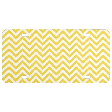 Beach Themed Yellow and White Zigzag Stripes Chevron Pattern License Plate