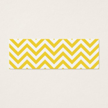 Beach Themed Yellow and White Zigzag Stripes Chevron Pattern Mini Business Card