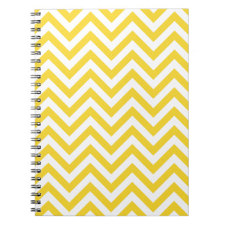 Yellow and White Zigzag Stripes Chevron Pattern Notebook