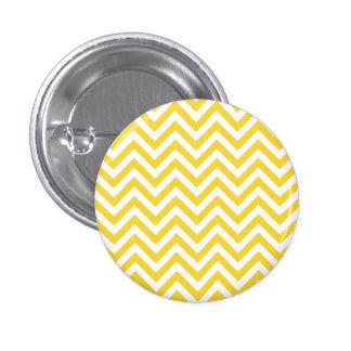 Yellow and White Zigzag Stripes Chevron Pattern Pinback Button