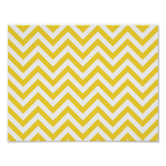 Yellow and White Zigzag Stripes Chevron Pattern Poster