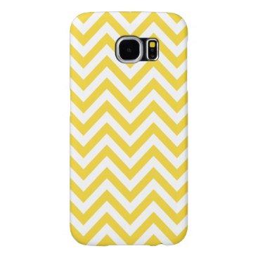Beach Themed Yellow and White Zigzag Stripes Chevron Pattern Samsung Galaxy S6 Case