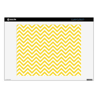 "Yellow and White Zigzag Stripes Chevron Pattern Skins For 14"" Laptops"