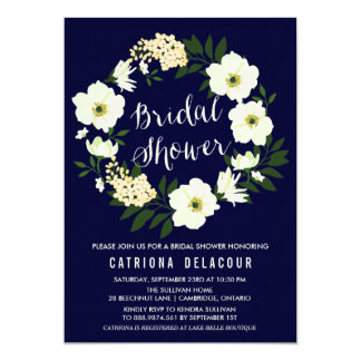 Yellow Anemone Floral Wreath Navy Bridal Shower Card