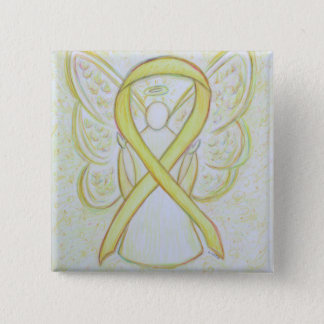 Yellow Angel Awareness Ribbon Art Pins