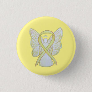 Yellow Angel Awareness Ribbon Custom Art Pins