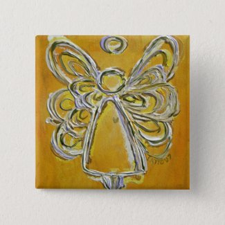 Yellow Angel Button or Pin