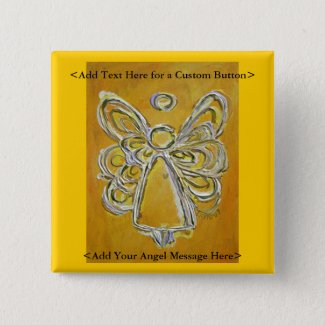 Yellow Angel Button or Pin with Custom Messages