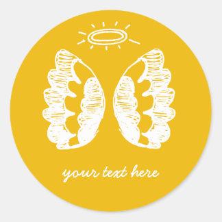 Yellow Angel Classic Round Sticker