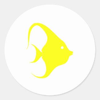 Yellow Angel Fish Round Stickers