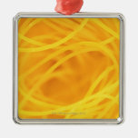 Yellow angel hair pasta christmas ornament