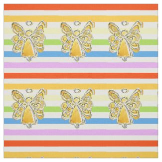 Yellow Angel Rainbow Stripe Fabric Art Material