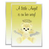 Yellow Angel Teddy Bear Baby Shower Card