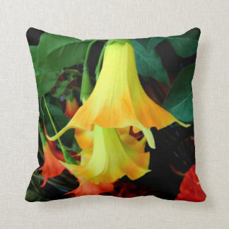 Yellow Angel Trumpet Flowers Pillows by Sharles