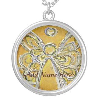 Yellow Angel Wings Silver Necklace with Name