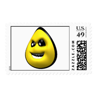 Yellow angry corn smiley face postage