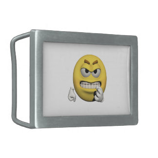 Yellow angry emoticon or smiley belt buckle
