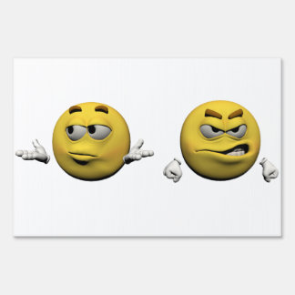 Yellow angry emoticon or smiley lawn sign