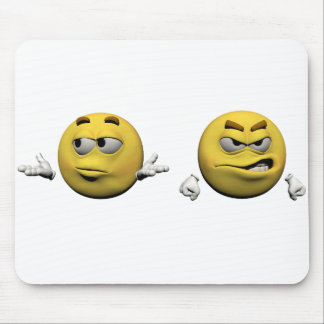 Yellow angry emoticon or smiley mouse pad