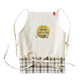 Yellow angry emoticon or smiley zazzle HEART apron