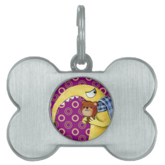 Yellow Angry Monster with Teddy Bear Pet Tag