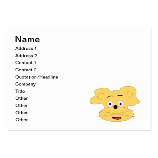Yellow animal cartoon face large business cards (Pack of 100)
