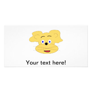 Yellow animal cartoon face photo card template