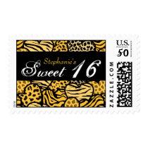Yellow animal pattern hearts Sweet 16 postage
