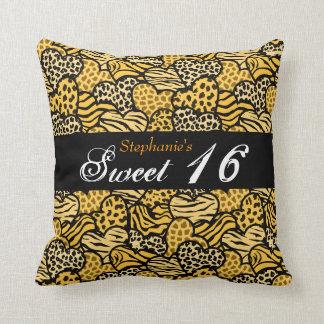 Yellow animal pattern hearts Sweet Sixteen Pillow
