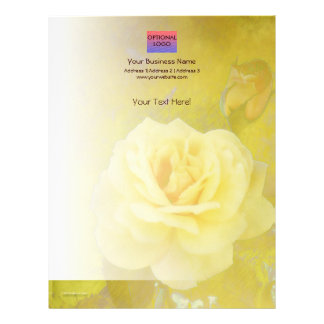 Yellow Antique Rose Vertical Letterhead
