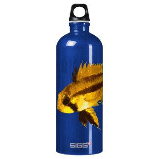 Yellow Apistogramma Fish Fan Aluminum Water Bottle
