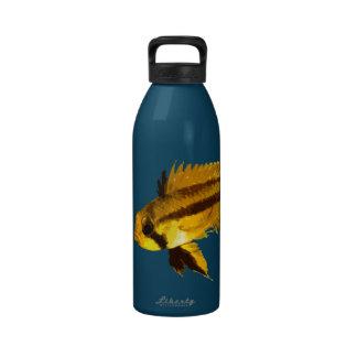 Yellow Apistogramma Fish Fan Water Bottles
