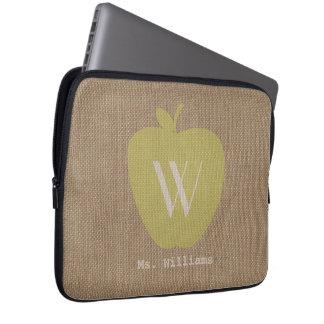 Yellow Apple Burlap Inspired Electronics Bag Computer Sleeves