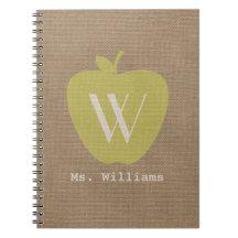 Yellow Apple Burlap Inspired Teacher Notebook