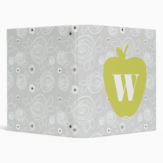 Yellow Apple Floral Binder For Teachers